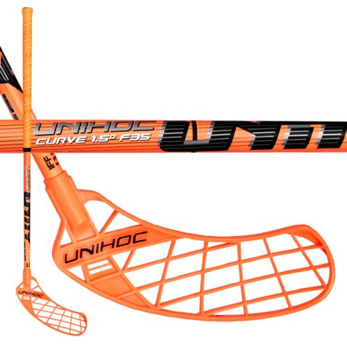 UNIHOC STICK UNITY CURVE 1.5º 35 neon orange 92cm R-17 - Floorball sticks for children