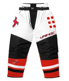 UNIHOC GOALIE PANTS FEATHER white/neon red XL