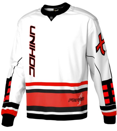 UNIHOC GOALIE SWEATER FEATHER white/neon red XL - Pullover