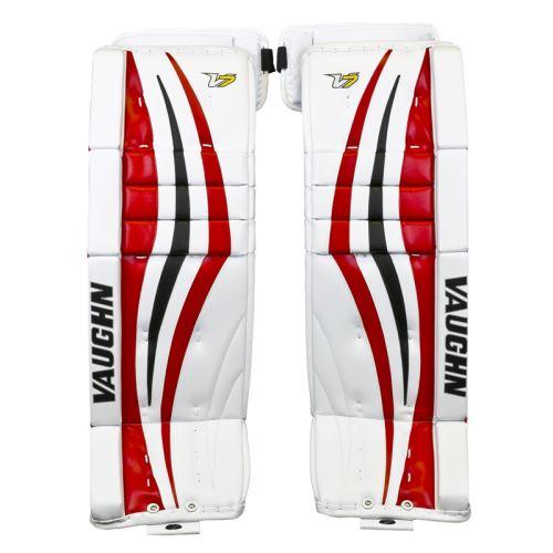 """GOALIE LEG PADS VAUGHN VELOCITY V7 XF PRO white/black/red senior - 32+2"""" - Pads"""