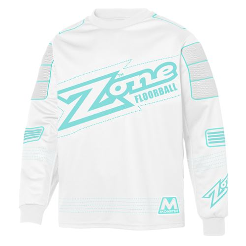 ZONE GOALIE SWEATER MONSTER white/light turquoise XL - Jersey