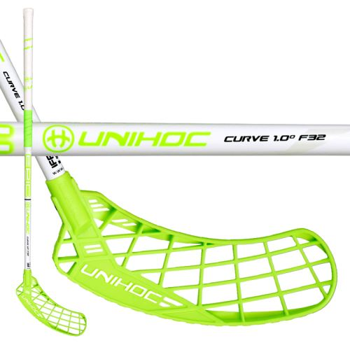UNIHOC STICK EPIC CURVE 1.0º 32 white green 92cm L-17 - Floorball-Schläger für Kinder